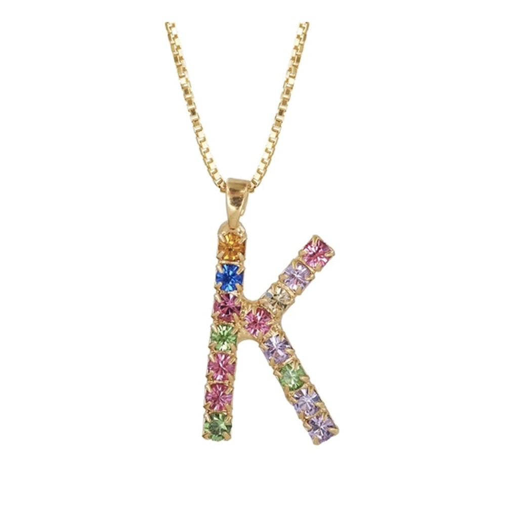 Initial K Letter Necklace - Gold