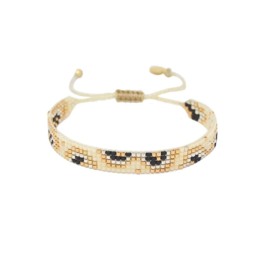 Fiore Beaded Bracelet - Cream & Black