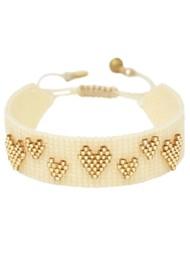 MISHKY Heart Splash Beaded Bracelet - Cream & Gold