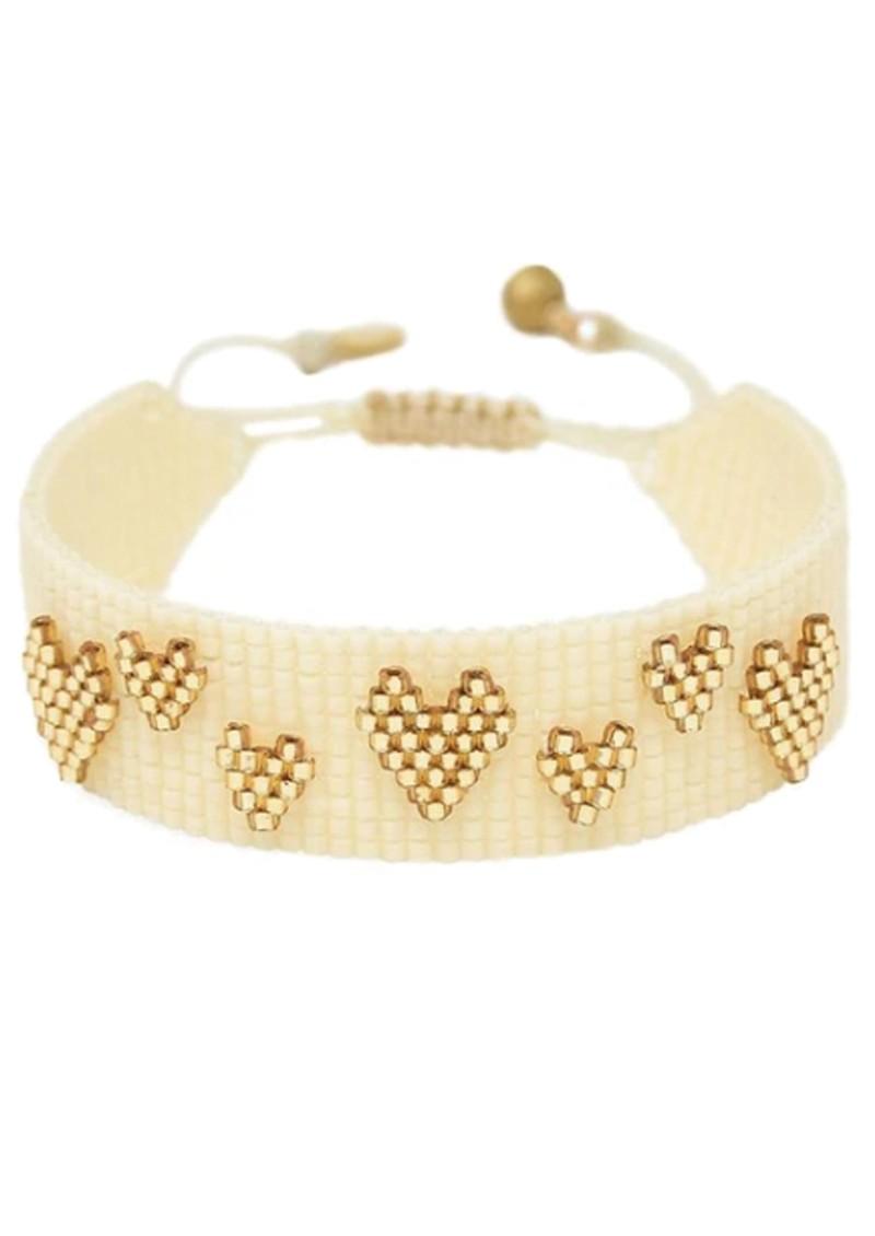 MISHKY Heart Splash Beaded Bracelet - Cream & Gold main image