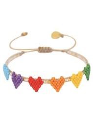 MISHKY Multi Heart Row Beaded Bracelet - Multi