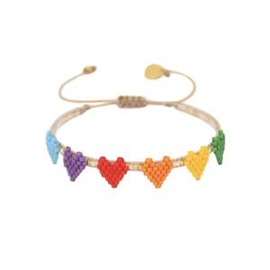 Multi Heart Row Beaded Bracelet - Multi
