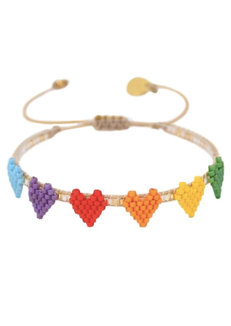 MISHKY Multi Heart Row Beaded Bracelet - Multi main image
