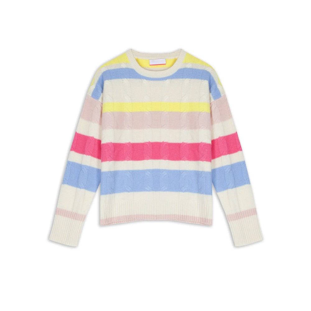 Hailey Striped Cable Knit Cashmere Jumper - Cream