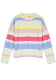 COCOA CASHMERE Hailey Striped Cable Knit Cashmere Jumper - Cream