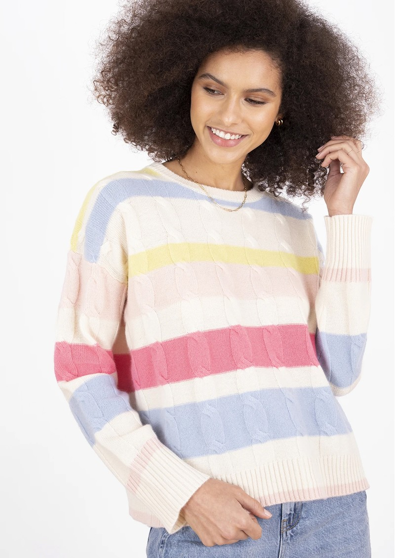 COCOA CASHMERE Hailey Striped Cable Knit Cashmere Jumper - Cream main image