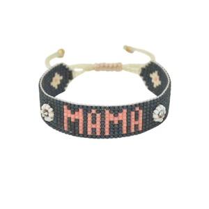 UK Exclusive Mama Beaded Bracelet - Slate Grey