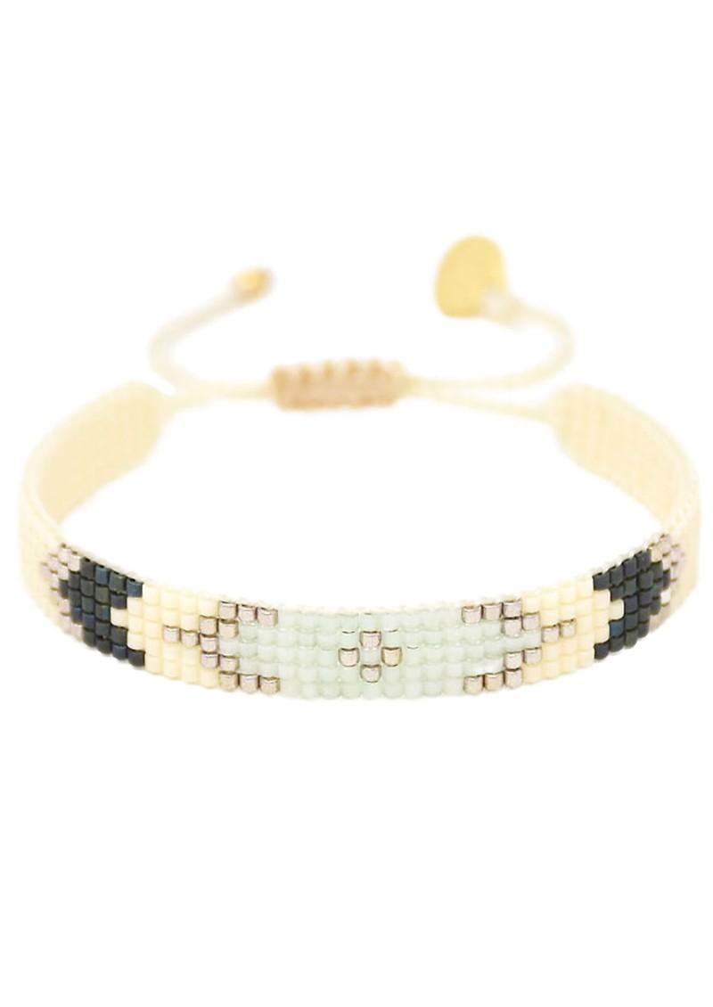 MISHKY Peeky Narrow Beaded Bracelet - Mint & Black main image