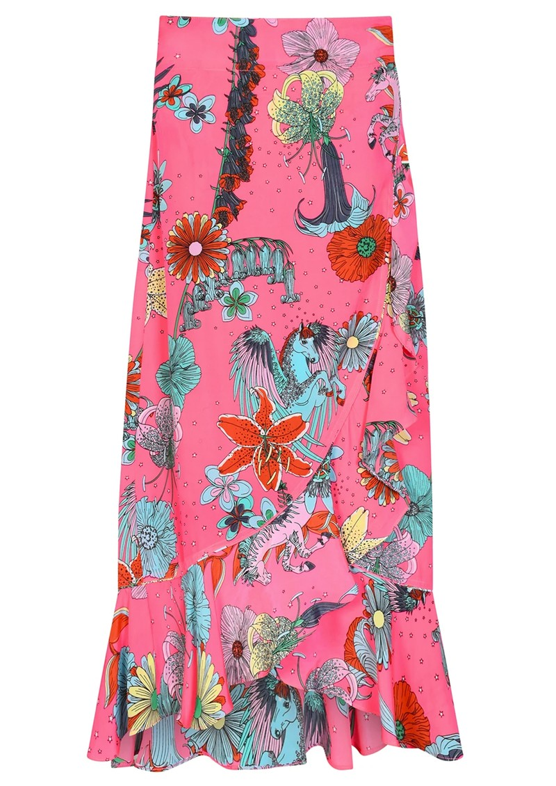 STARDUST Mia Wrap Skirt - Neon Pink Floral main image