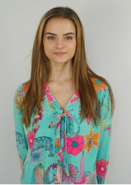 STARDUST Money Penny Blouse - Teal Floral