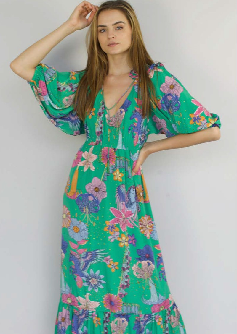 STARDUST Jeanie Maxi Dress - Green Floral main image
