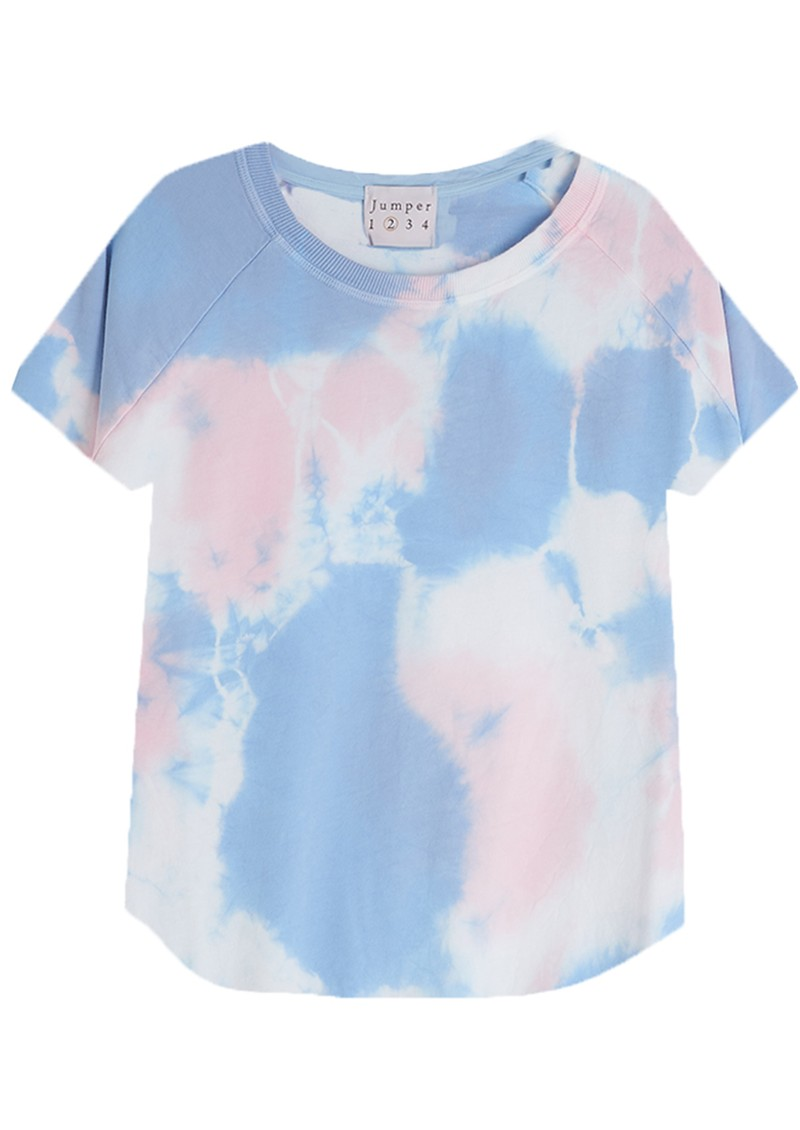 JUMPER 1234 2 Colour Tie Dye T-shirt - White, Blossom & Sky main image