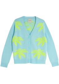 JUMPER 1234 Palm Tree Cashmere Cardigan - Powder Blue & Yellow