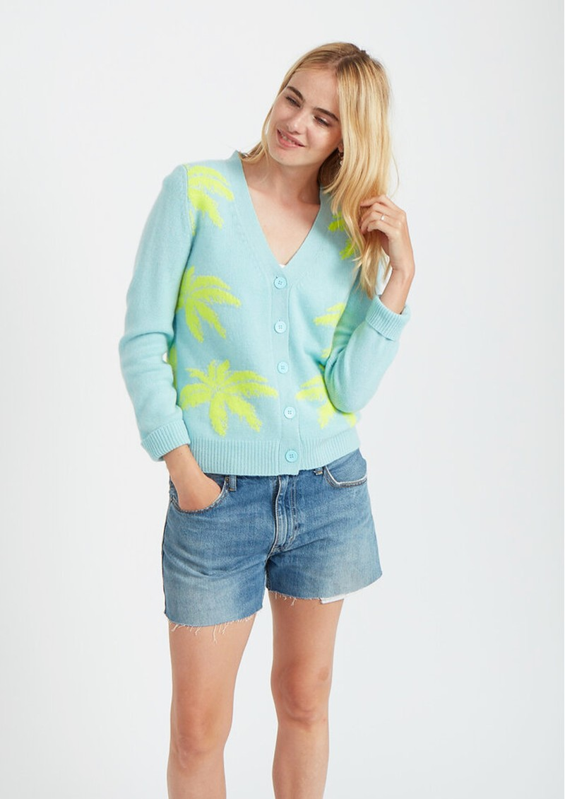 JUMPER 1234 Palm Tree Cashmere Cardigan - Powder Blue & Yellow main image