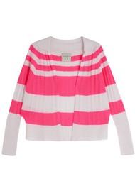 JUMPER 1234 Stripe Cable Cashmere Cardigan - Plaster & Neon Pink