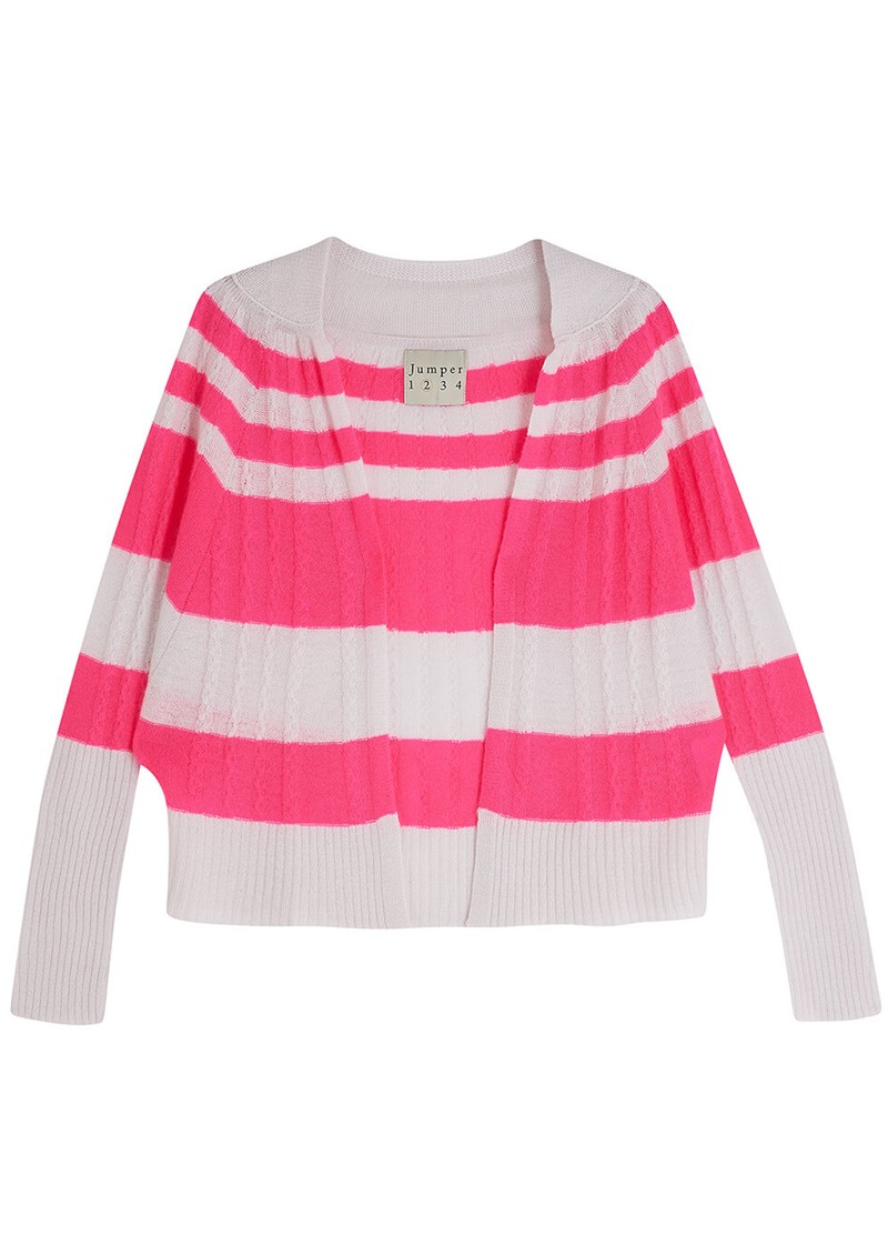 JUMPER 1234 Stripe Cable Cashmere Cardigan - Plaster & Neon Pink main image