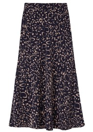 Lily and Lionel Clara Silk Skirt - Navy Ocelot