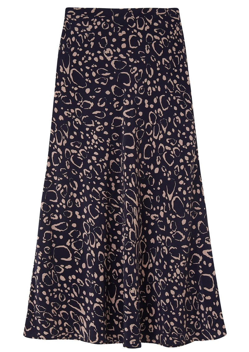Lily and Lionel Clara Silk Skirt - Navy Ocelot main image