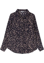 Lily and Lionel Classic Silk Shirt - Navy Ocelot