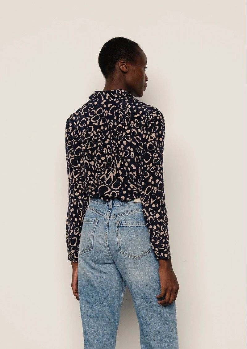 Lily and Lionel Classic Silk Shirt - Navy Ocelot main image