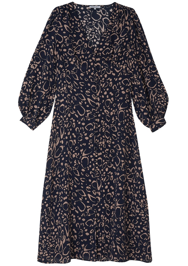 Lily and Lionel Emmy Silk Dress - Navy Ocelot main image