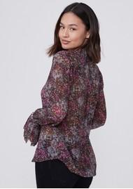 Paige Denim Abriana Silk Printed Shirt - Dark Magenta