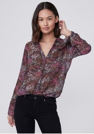 Paige Denim Abriana Silk Printed Shirt - Dark Magenta