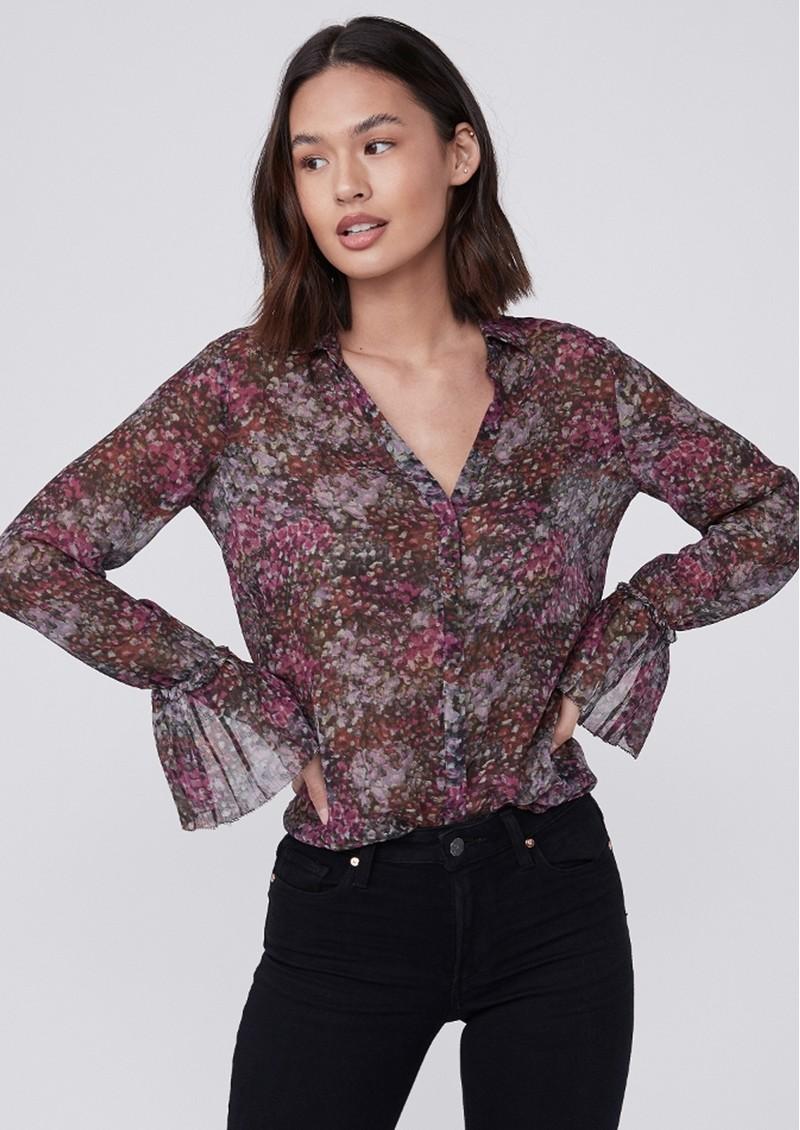 Paige Denim Abriana Silk Printed Shirt - Dark Magenta main image