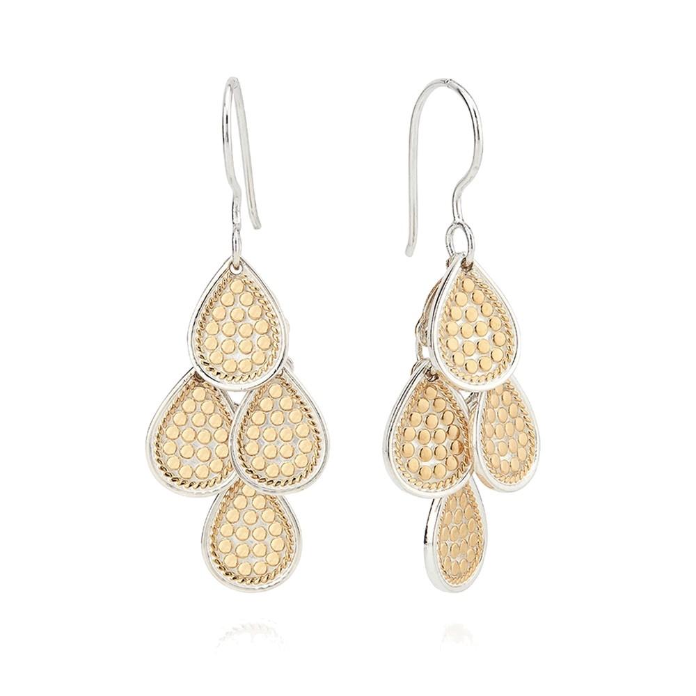Classic Beaded Chandelier Earrings - Gold