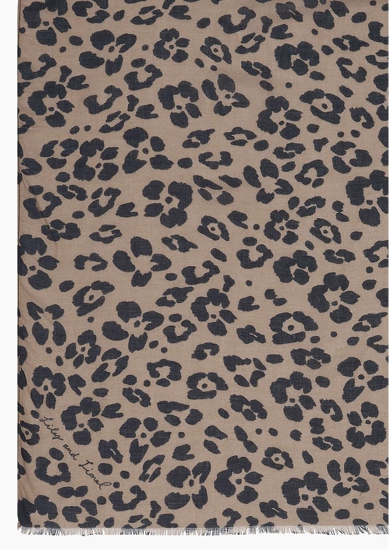 Lily and Lionel Floral Leopard Silk & Wool Blend Scarf - Parchment main image