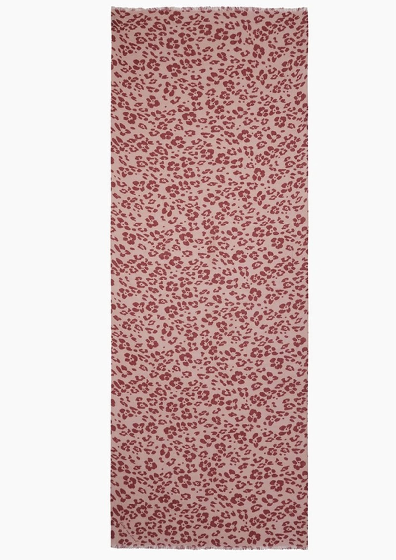Lily and Lionel Floral Leopard Silk & Wool Blend Scarf - Rose main image