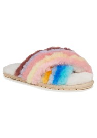 EMU Mayberry Rainbow Crossover Sheepskin Slipper Slide - Multi