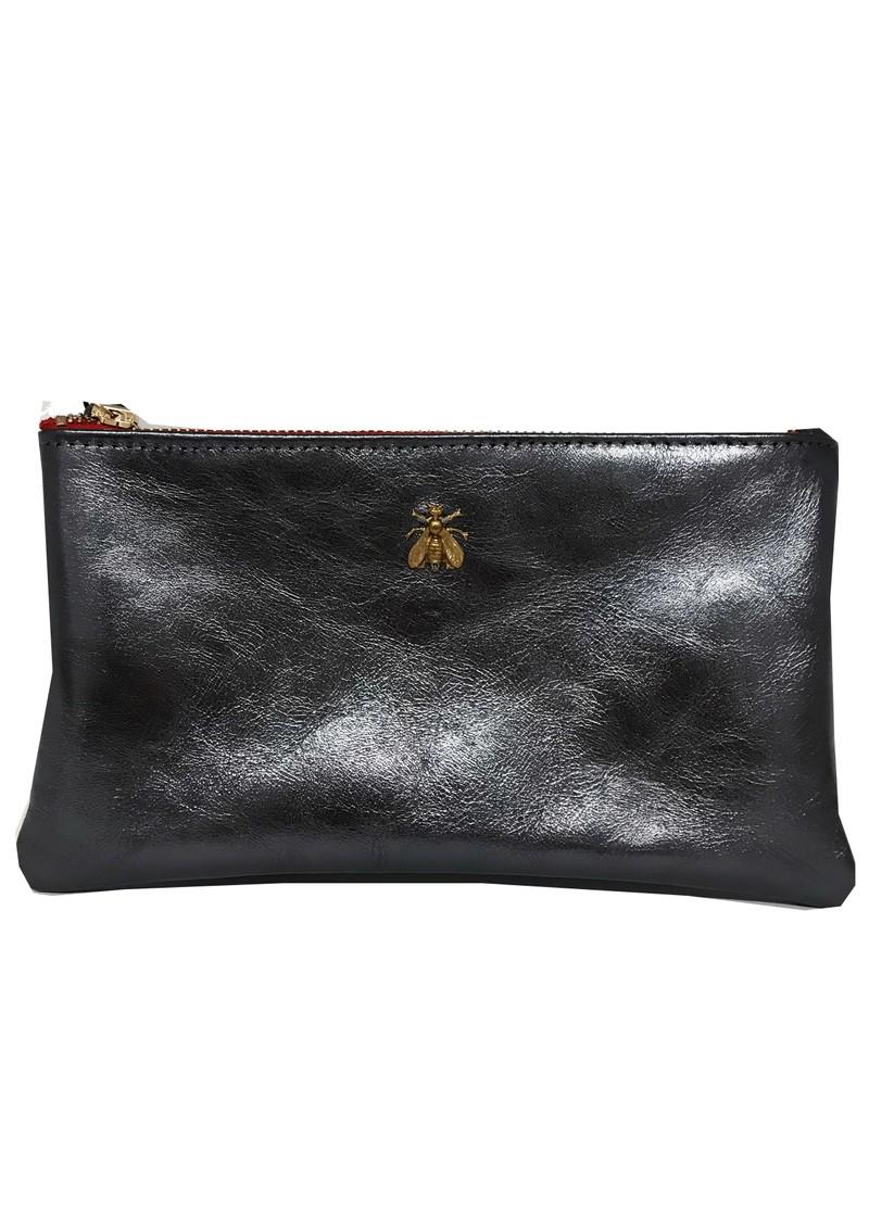Sous Les Paves Tsutsuki Bee Leather Clutch Bag - Blue main image