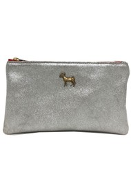 Sous Les Paves Tsutsuki Donkey Leather Clutch Bag - Silver