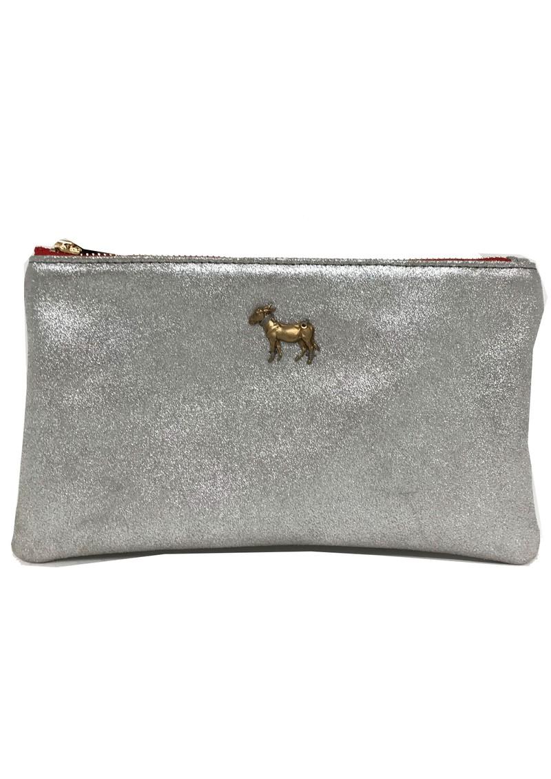Sous Les Paves Tsutsuki Donkey Leather Clutch Bag - Silver main image