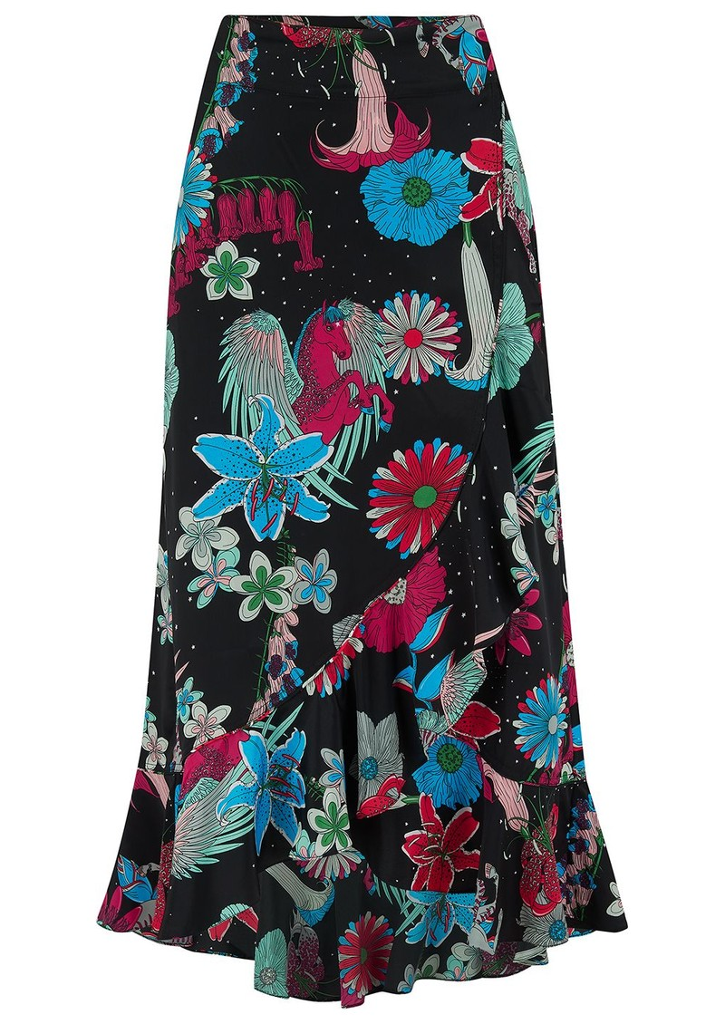 Mia Wrap Skirt - Black Floral main image