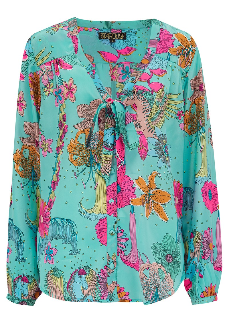 STARDUST Money Penny Blouse - Teal Floral main image