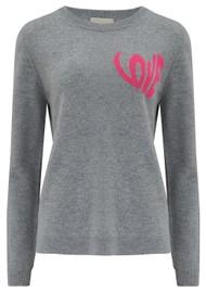 JUMPER 1234 Love Heart Crew Cashmere Jumper - Lava Pink
