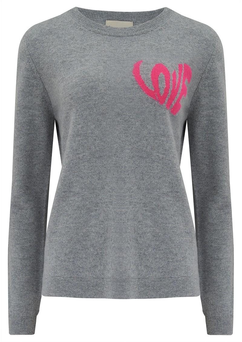 JUMPER 1234 Love Heart Crew Cashmere Jumper - Lava Pink main image