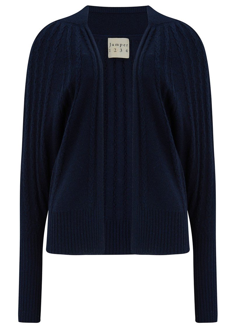 JUMPER 1234 Cable Cashmere Cardigan - Navy main image