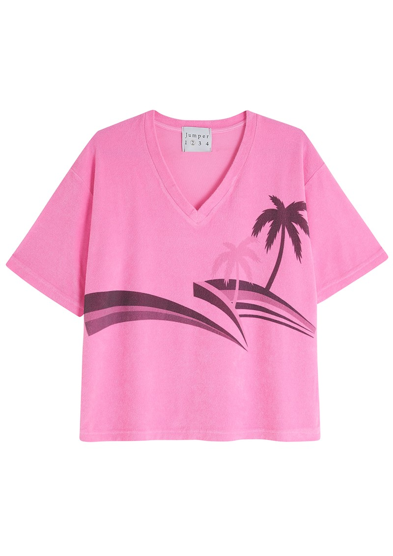 JUMPER 1234 Terry Cotton Palm Printed Top - Neon Pink main image