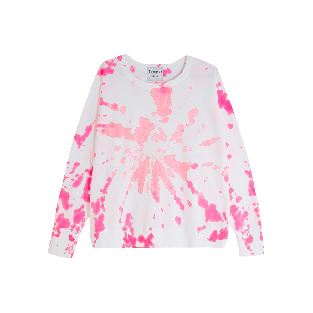 Tie Dye Cotton Sweatshirt - White & Pink