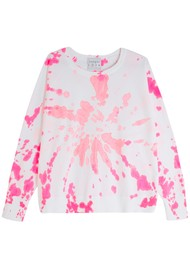 JUMPER 1234 Tie Dye Cotton Sweatshirt - White & Pink