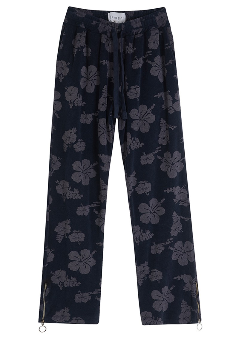 JUMPER 1234 Floral Cotton Terry Joggers - Navy main image