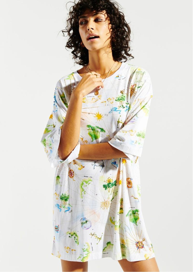 HAYLEY MENZIES Paradise Found Embellished T-Shirt Dress - White Multi main image