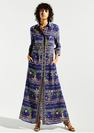 HAYLEY MENZIES Maxi Shirt Silk Dress - Twilight Safari