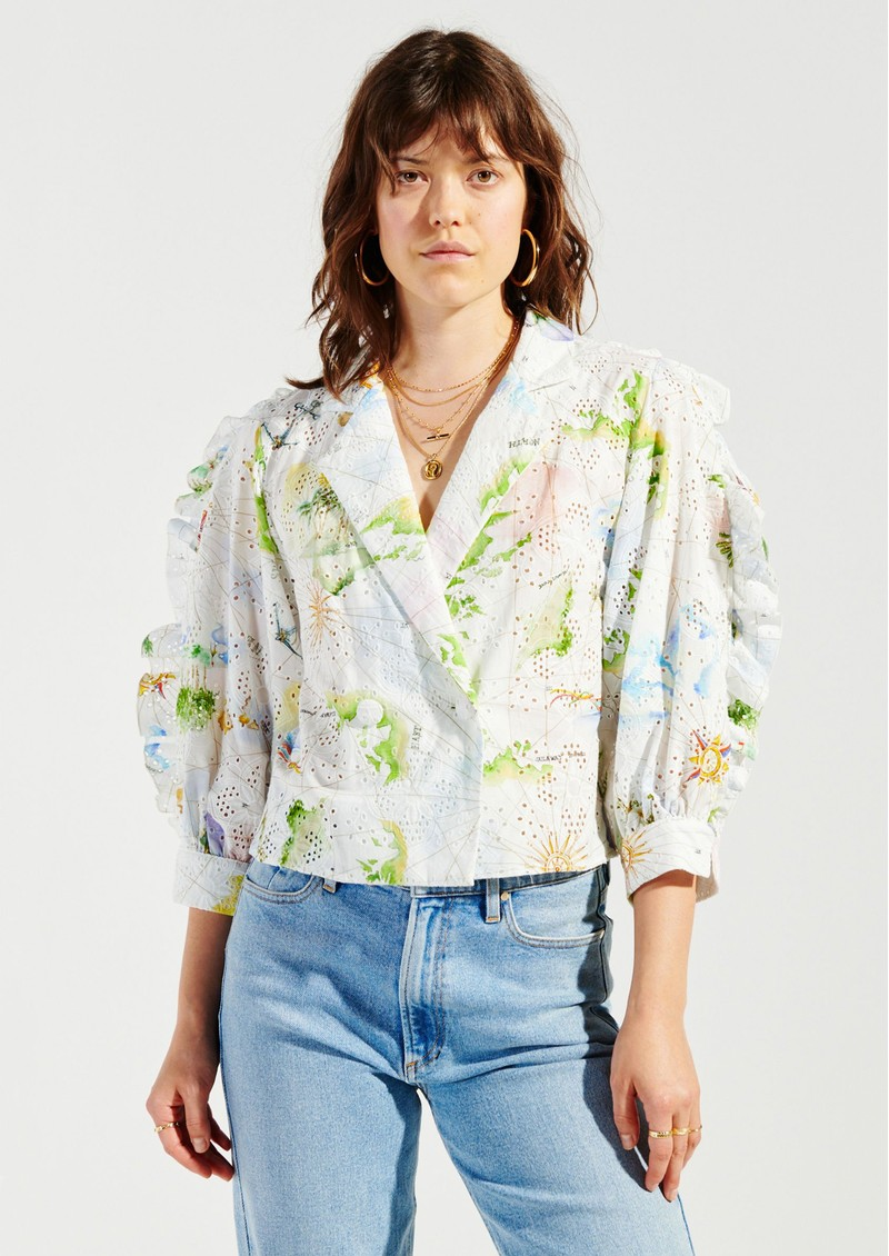 HAYLEY MENZIES Paradise Found Tux Shirt - White Multi main image
