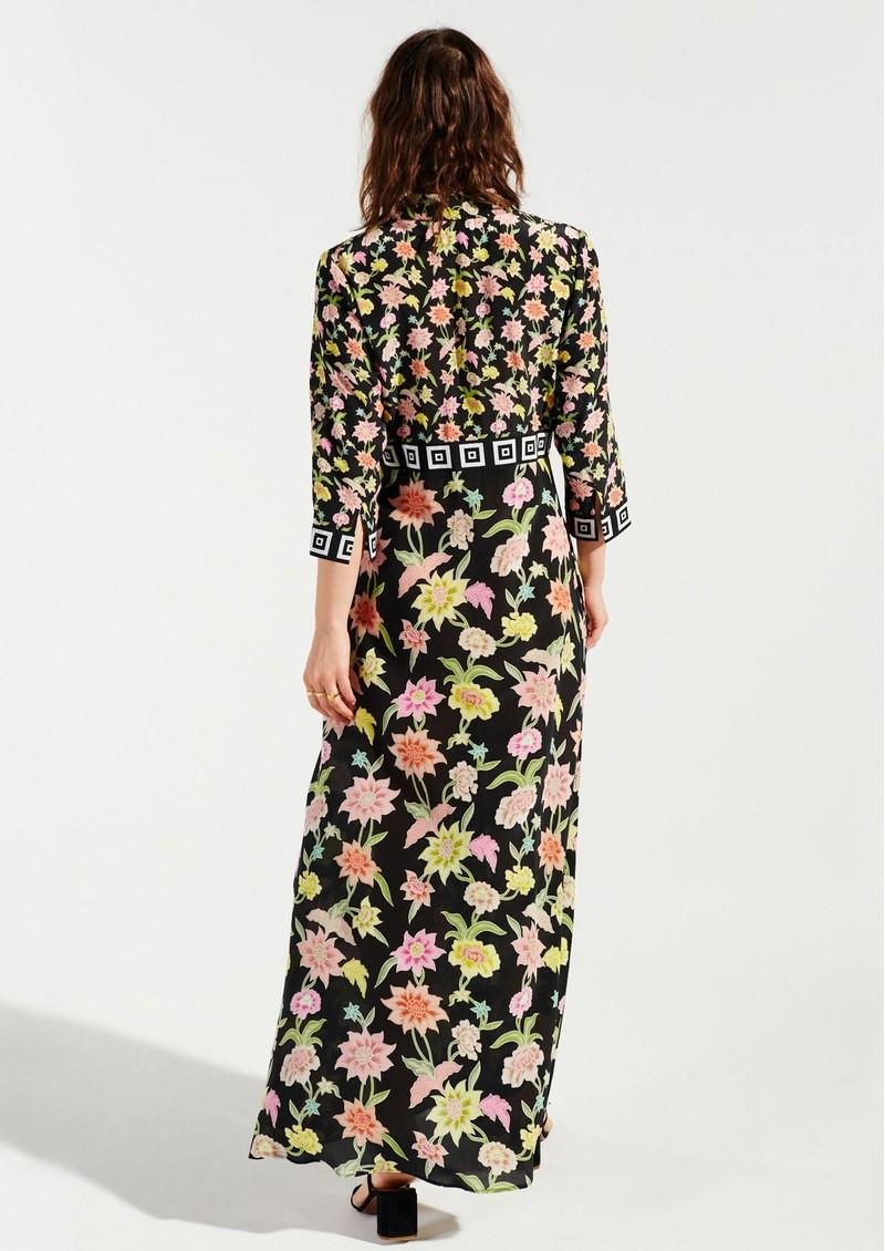 HAYLEY MENZIES Dream Colour Maxi Silk Shirt Dress - Black Multi main image