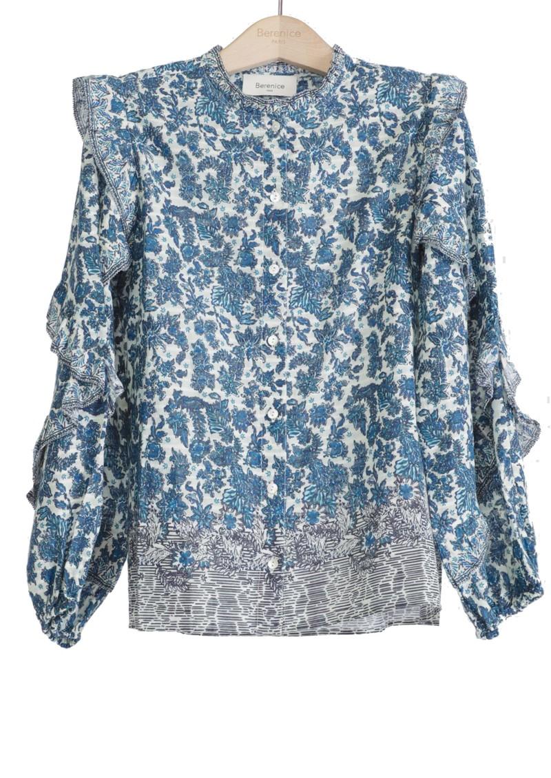 BERENICE Timotee Ruffle Sleeve Cotton Blouse - Blue Quitana main image