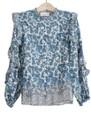 BERENICE Timotee Ruffle Sleeve Cotton Blouse - Blue Quitana